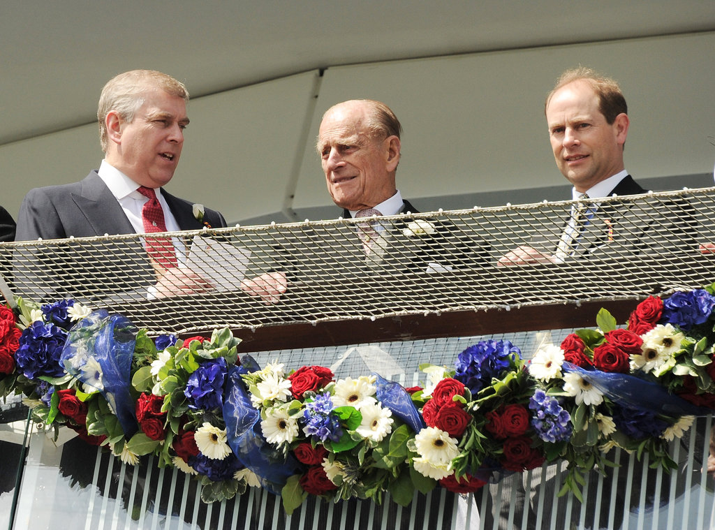 Prince Andrew, Duke of York; Prince Philip, Duke of Edinburgh; and Prince Edward, Earl of Wessex, chatted at the Diamond Jubilee Derby.