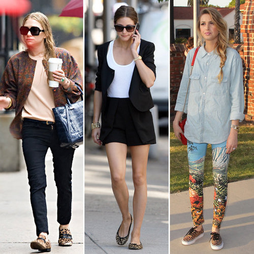 One Trend, Three Ways: Olivia Palermo, Whitney Port And Ashley Olsen Rock Leopard Flats