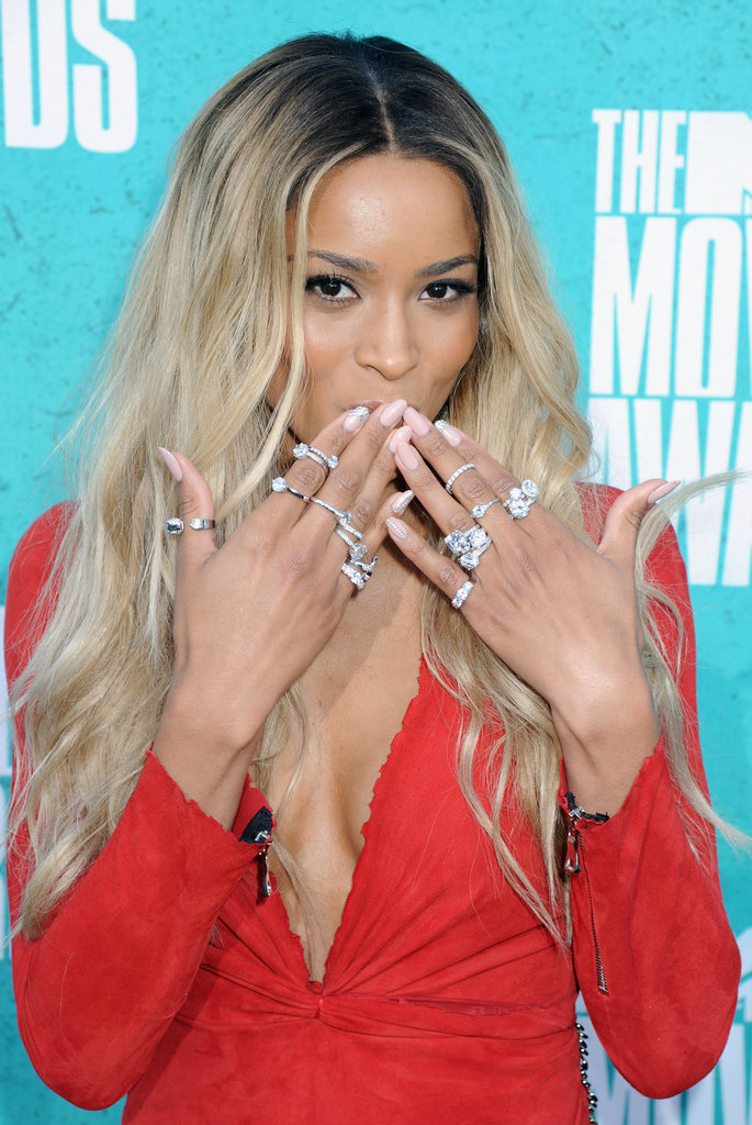 Ciara nearly blinded the crowd as she blew kisses, putting a bevvy of jewels on display.