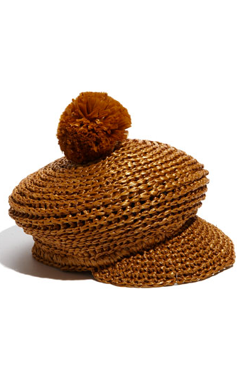 We'd love to wear Burberry's quirky pom straw hat with a Summer dress for a fun twist on Summer dressing.  Burberry Cap ($255, originally $425)