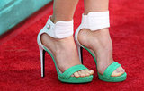Jessica Biel finished her look with a sporty-cum-sexy pair of colorblocked Barbara Bui ankle-strap heels.