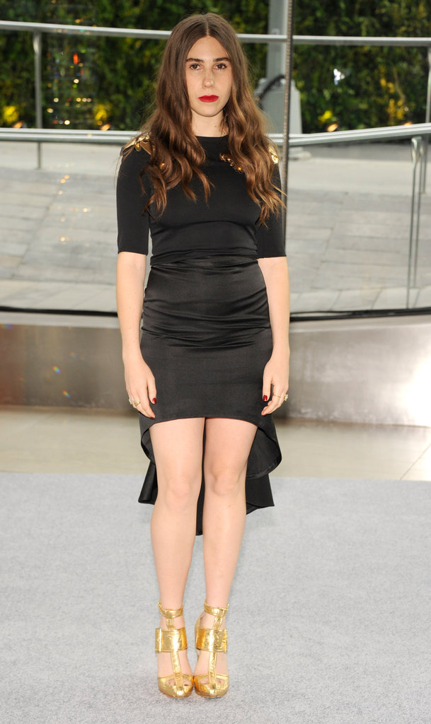 Girls star Zosia Mamet arrived in a black asymmetrically hemmed Cynthia Rowley dress.