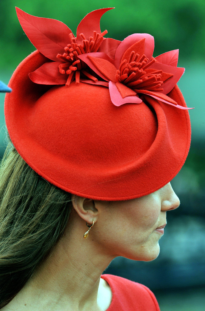 The Duchess of Cambridge wore a Sylvia Fletcher hat from James Lock & Co. reminiscent of the maple leaf number she wore for Canada Day.