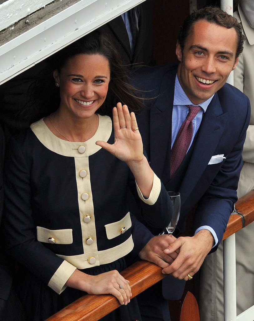 Pippa Middleton wore a navy skirt and matching jacket by Orla Kiely, while James Middleton also went for a shade of blue.