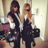Rachel Zoe and Mandana Dayani showed up to work with matching outfits and handbags.  Source: Instagram user rachelzoe