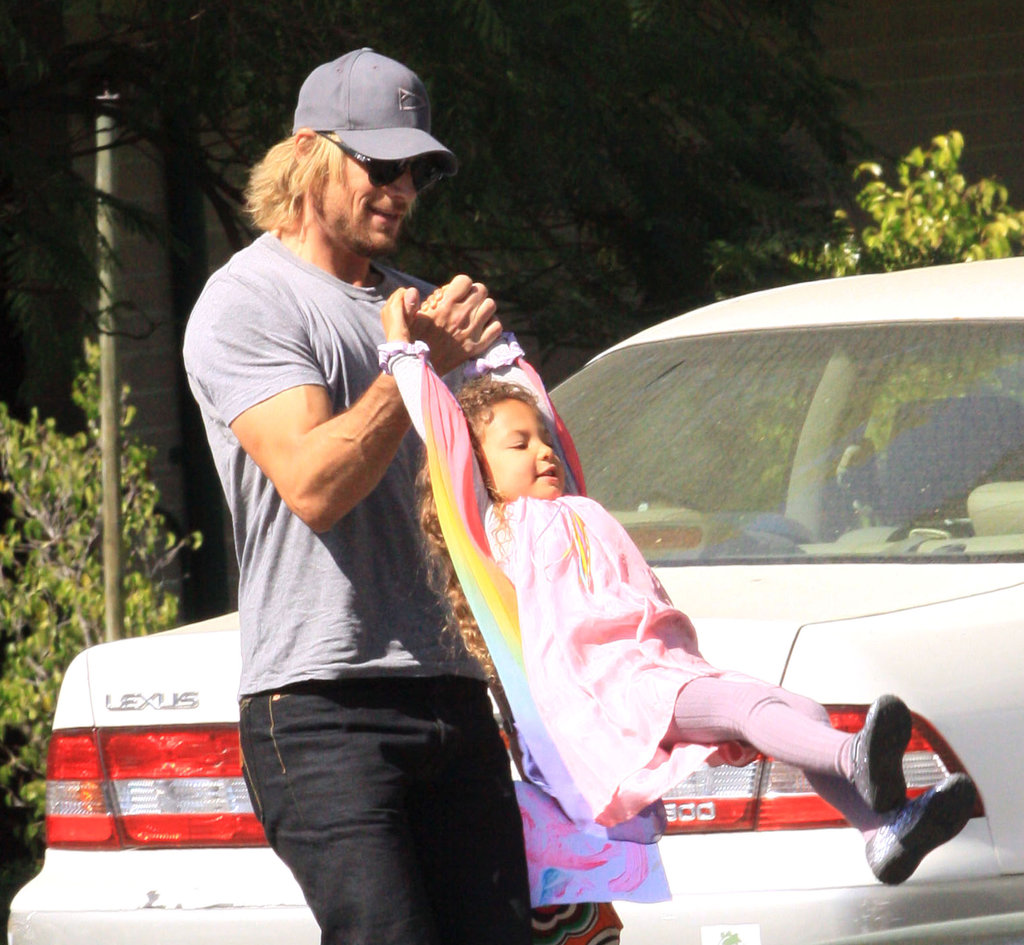 Gabriel Aubry got playful with daughter Nahla Aubry during a March 2012 outing in LA.