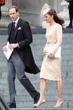 The Duke and Duchess of Cambridge leave the thanksgiving service at St. Paul's Cathedral.