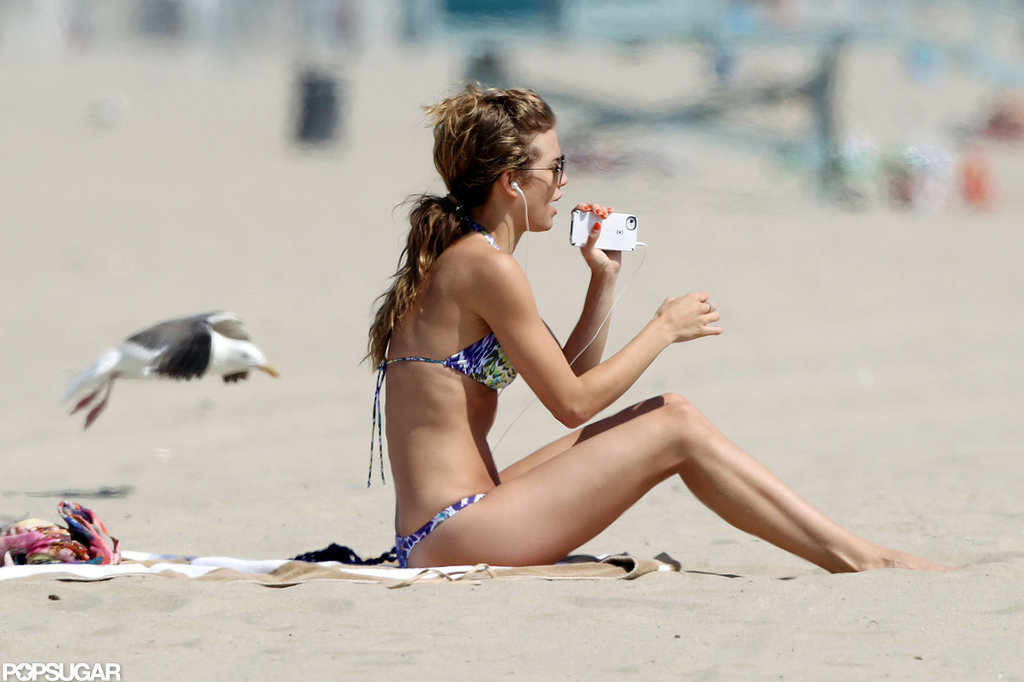 AnnaLynne McCord sat on the beach in LA.
