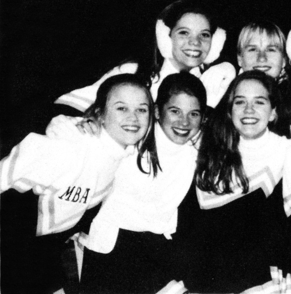 Reese Witherspoon on the left was a cheerleader in her high school days.