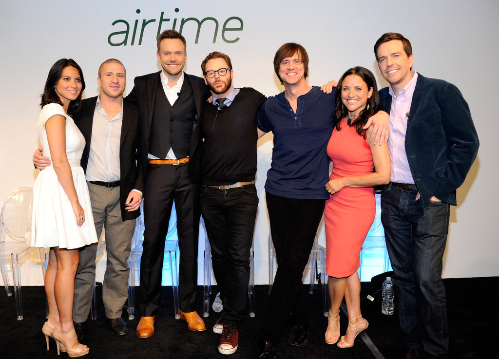 Olivia Munn, Shawn Fanning, Joel McHale, Sean Parker, Jim Carrey, Julia Louis-Dreyfus, and Ed Helms mugged for the cameras at Airtime.