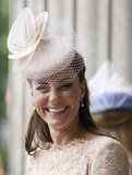We love the girlie netted lace detail on Kate's hat to echo the pretty lace of her dress.