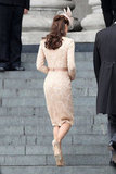Headed into St Paul's Cathedral, we got a glimpse of Kate's perfectly fit Alexander McQueen sheath and the intricate lace detailing that covered the dress.