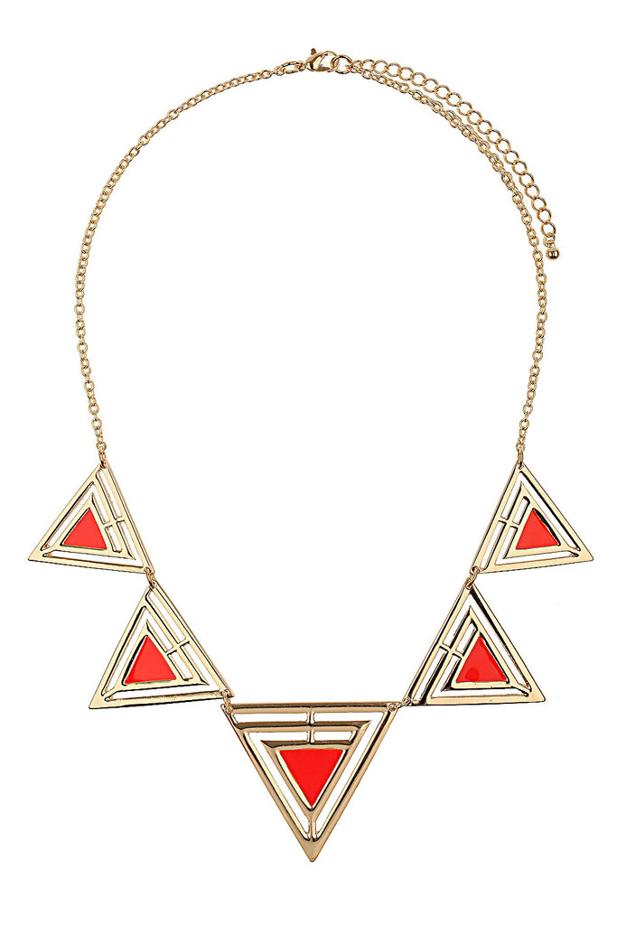We envision this geo-shaped necklace being layered with a low-key tee and blazer combination. Topshop Geo Triangle Collar ($30)