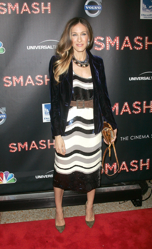 At an event in NYC, Sarah Jessica worked a sequin Tory Burch dress with a velvet navy Yves Saint Laurent blazer and pointed Manolo Blahnik pumps. She accessorized with a lizard VBH clutch and Fred Leighton jewels. 7093470