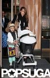 Jessica Alba pushed Haven while Honor rode alongside the stroller as they left their hotel in NYC.