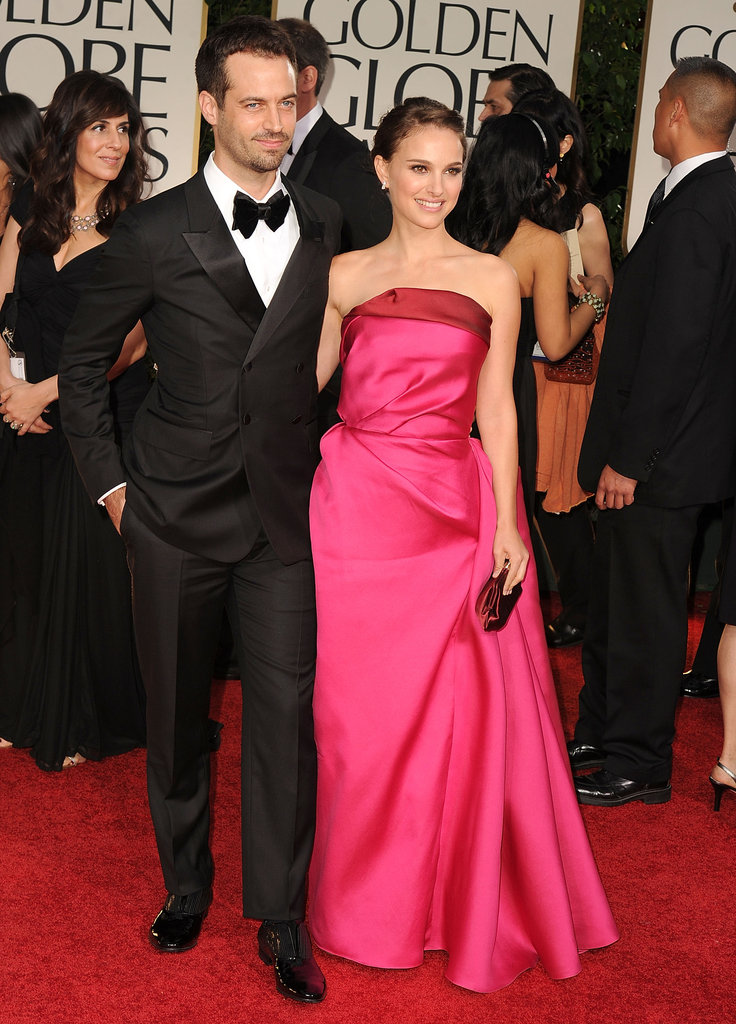 Natalie Portman wore a bright pink gown and posed with Benjamin Millepied at the January 2012 Golden Globes in LA.