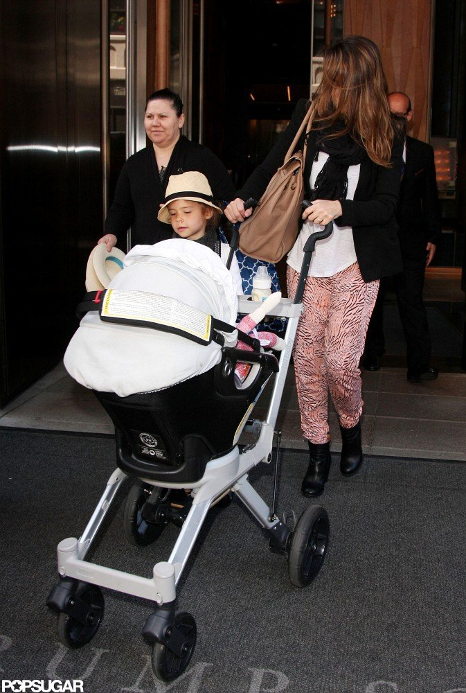 Jessica Alba strolled Haven and Honor out of their NYC hotel.