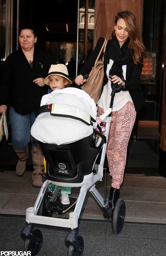 Jessica Alba left her NYC hotel with Honor and Haven.