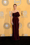Natalie Portman looked elegant in a maroon gown for the 2012 Screen Actors Guild Awards in LA in January.