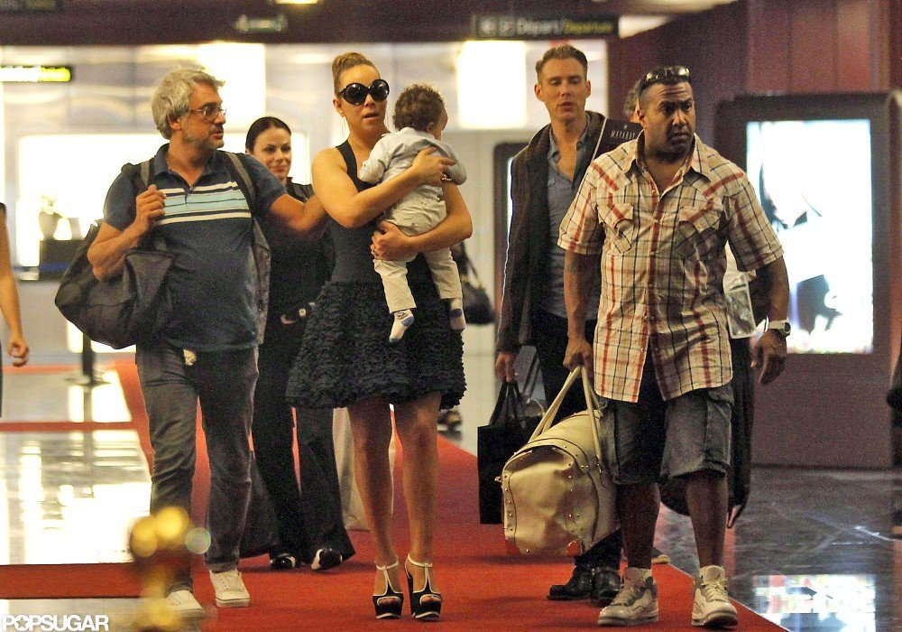 Mariah Carey arrived at the airport in Nice with her son Moroccan Cannon.