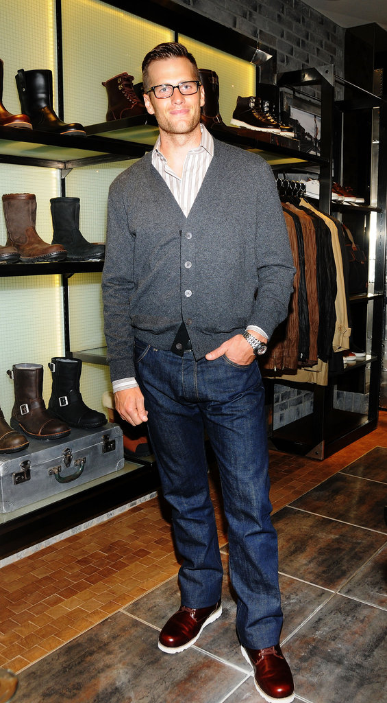 Tom Brady showed off his own pair of Ugg shoes at the opening of Ugg For Men in NYC.