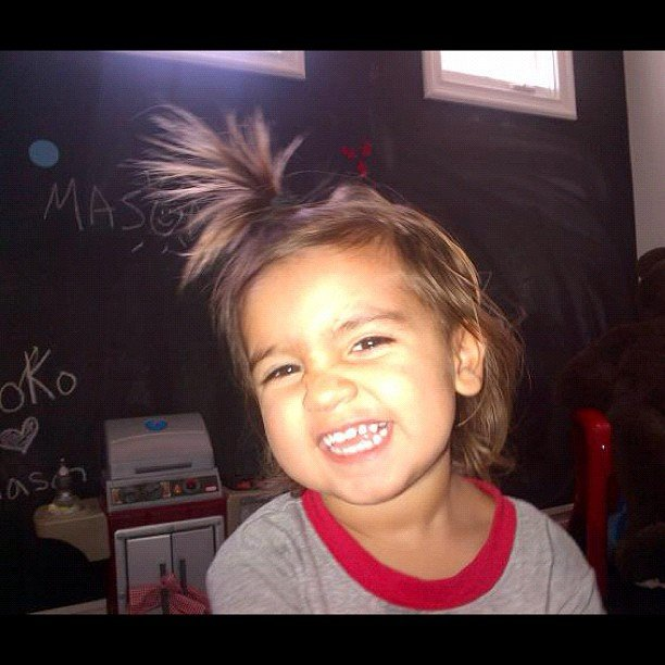 Kim Kardashian captured nephew Mason in a silly mood. Source: Instagram user kimkardashian