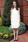 Natalie Portman wore a white ruffly number to celebrate the 10th anniversary of the Audrey Hepburn Children's House in New Jersey in May 2012.