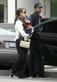 Natalie Portman held close to adorable son, Aleph, while out shopping with Benjamin Millepied in LA in October 2011.