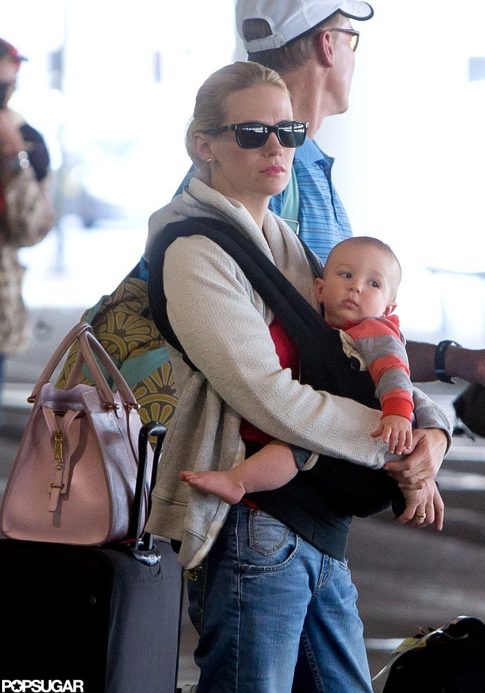 January Jones traveled with son, Xander.