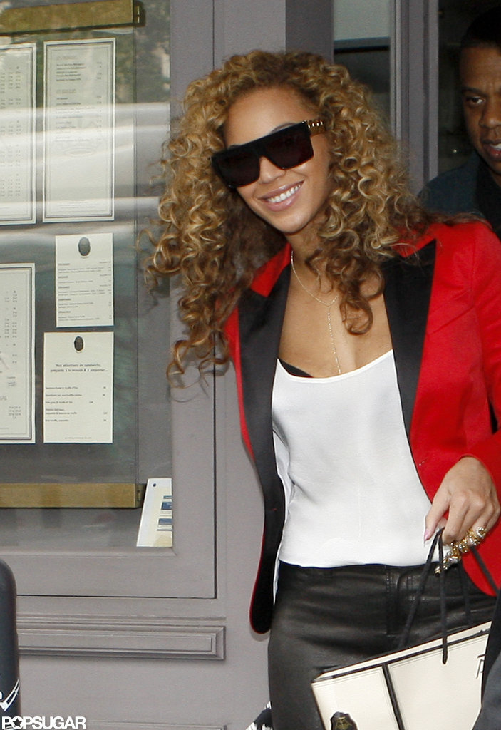 Beyonce wore a red blazer on a date with Jay-Z in Paris.