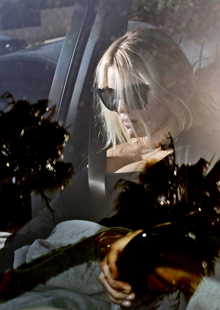 Jessica Simpson wore oversized sunglasses in the car in LA.