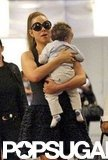 Mariah Carey held onto son Moroccan Cannon in the Nice airport.