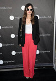 Rachel Bilson opted for an ultrawide-leg silky pant to go with her casual blazer-and-tee combo.