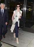 Add length to your silky pant ensemble by wearing cute Summer espadrilles — look to Anne Hathaway's outfit for easy inspiration.