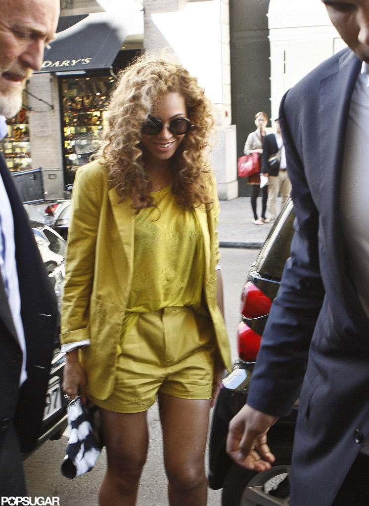 Beyoncé Knowles smiled as she and Jay-Z headed back to their hotel in Paris.