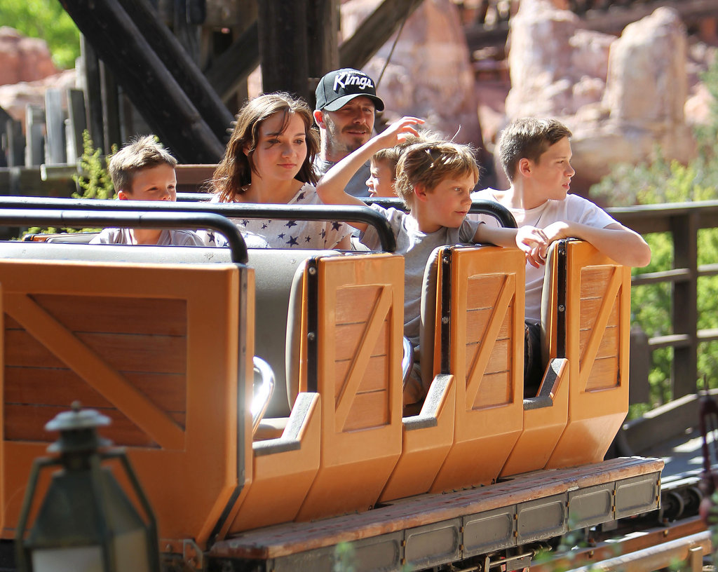 David Beckham rode on a ride with his boys at Disneyland.
