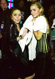 Mary-Kate Olsen and Ashley Olsen toweled off backstage after getting slimed at the 2004 Kids' Choice Awards.
