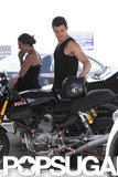 Orlando Bloom checked out his Ducati.