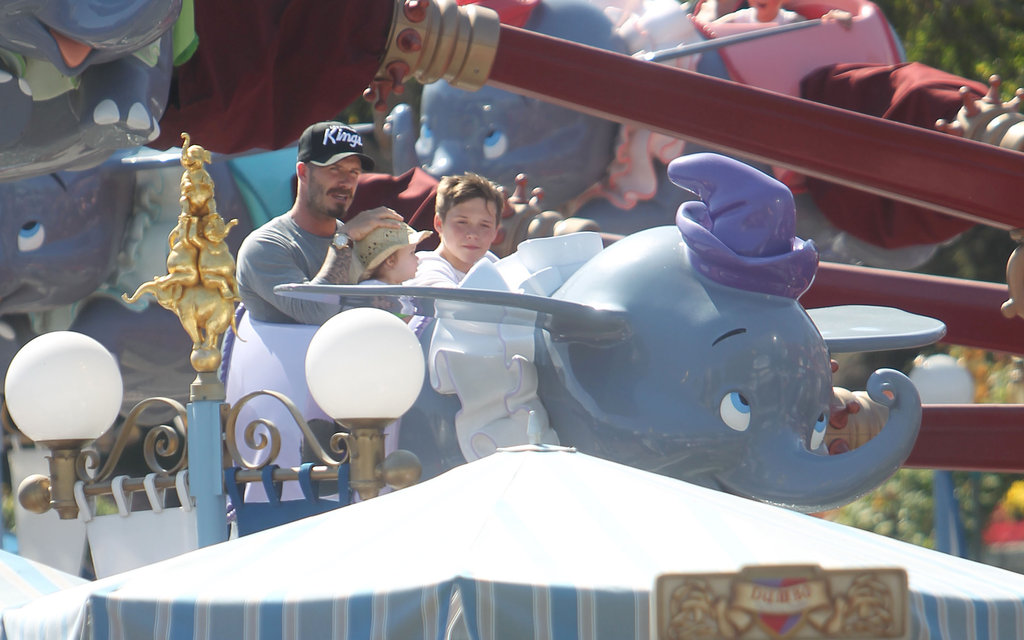 David Beckham held Harper Beckham on his lap with Brooklyn Beckham next to them on a ride at Disneyland.