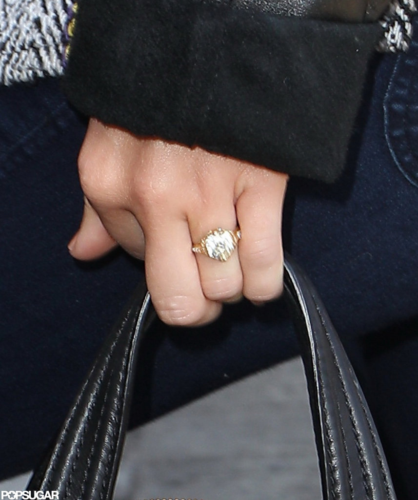 Miley Cyrus's engagement ring was sparkling at LAX.