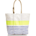 Each of these adorable bags is made by hand from reclaimed sails — and if that doesn't sway you into buying it, the bold neon stripe and rope-tie handle definitely will.