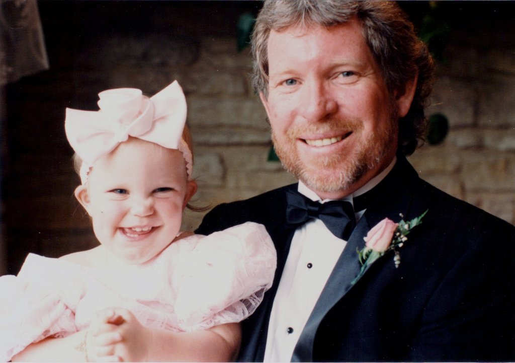 """This is a picture of my amazing dad and me at a friend's wedding. Always in shorts and a Hawaiian shirt, my dad stepped it up and looked quite dapper in a tux!"" — Chelsea Sutherland, ad operations trafficker"