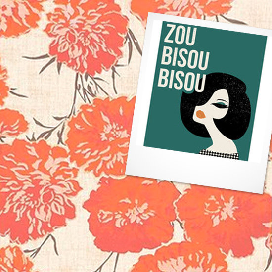 Art Print: Zou Bisou Bisou ($40-$375) Wallpaper: Peony Wallpaper ($79)