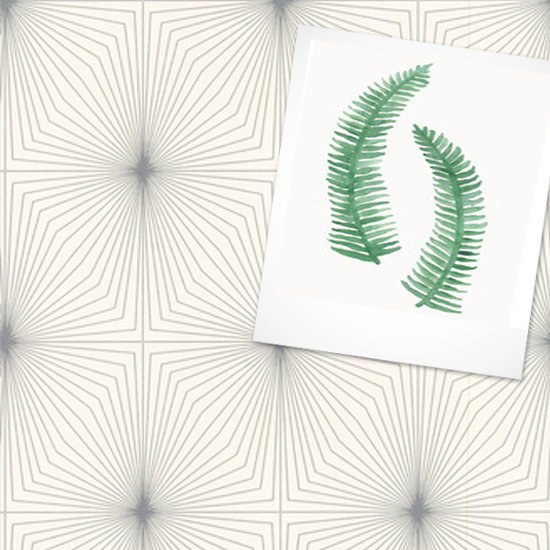 Art Print: Painted Ferns ($40-$375) Wallpaper: Dixie Silver & White Wallpaper ($50)