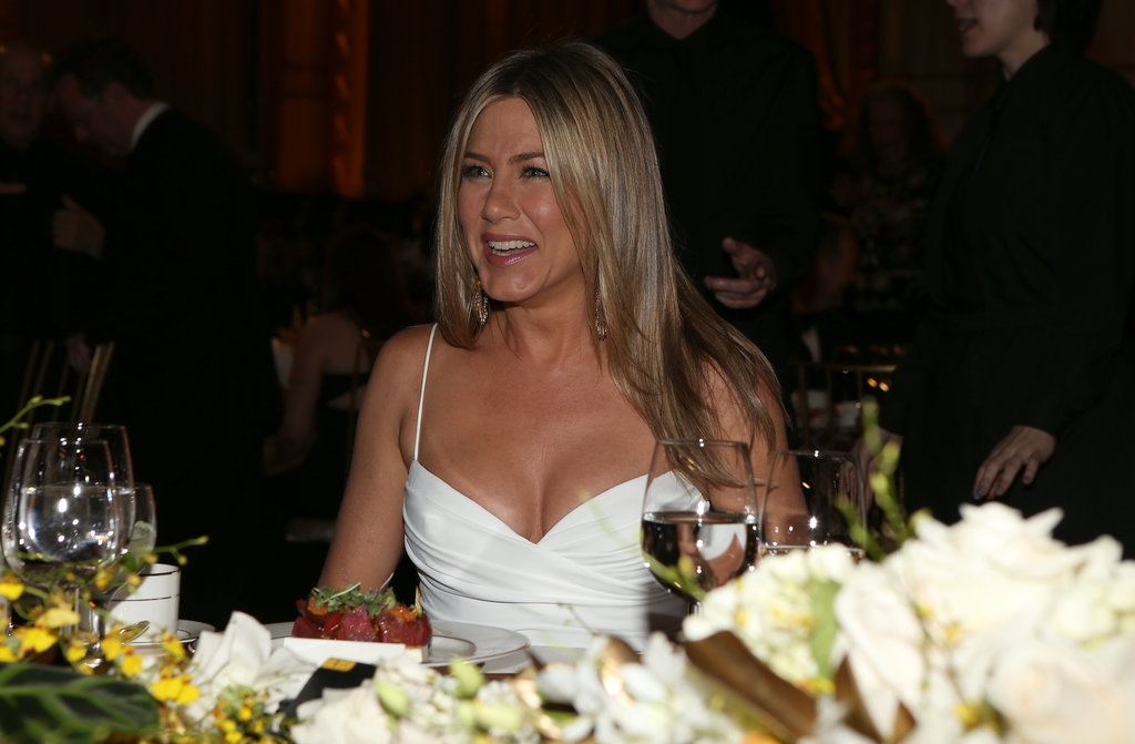 Jennifer Aniston looked happy to attend the AFI Life Achievement Award dinner honoring Shirley MacLaine in LA.