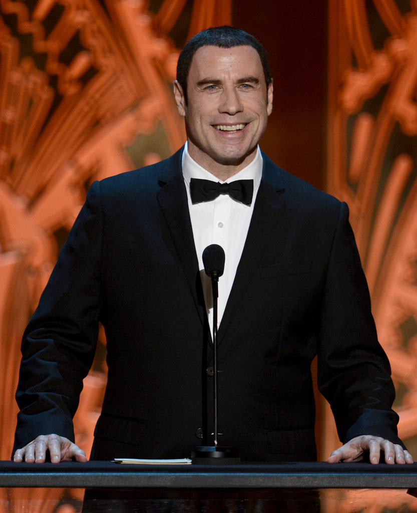 John Travolta spoke at the AFI Life Achievement Award dinner honouring Shirley MacLaine in LA.