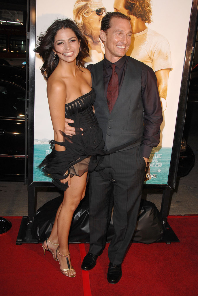 Matthew McConaughey and Camila Alves smiled big at the LA premiere of Fool's Gold in January 2008.