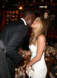 Jennifer Aniston greeted Dennis Haysbert at the AFI Life Achievement Award dinner honoring Shirley MacLaine in LA.