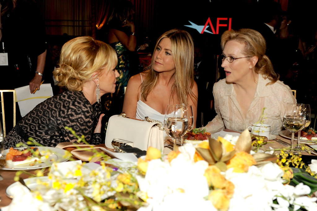 Jennifer Aniston got together with Meryl Streep and Melanie Griffith at the AFI Life Achievement Award dinner honoring Shirley MacLaine in LA.