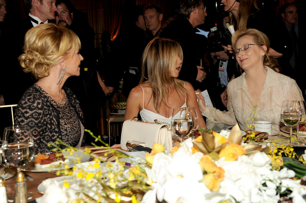 Melanie Griffith, Jennifer Aniston, and Meryl Streep chatted at the AFI Life Achievement Award dinner honoring Shirley MacLaine in LA.